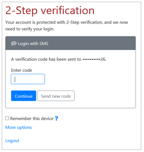 Login with SMS method