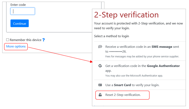 Link to reset of 2-step verification